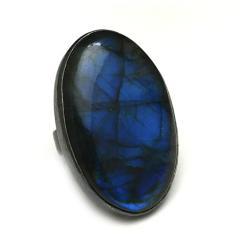 labradoryt,blask,srebrny,kobalt,niebieski,okazały - Pierścionki - Biżuteria