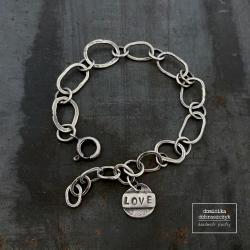 łańcuch,love,surowa,walentynki - Bransoletki - Biżuteria