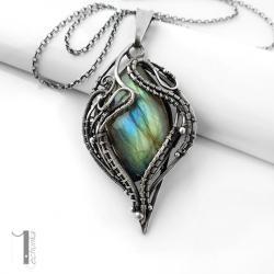 naszyjnik srebrny,labradoryt,wire wrapping - Naszyjniki - Biżuteria