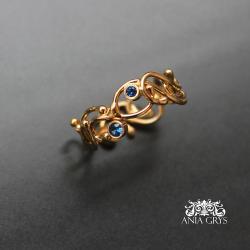 obrączka,pierścionek,pozłacany,cyrkonie - Pierścionki - Biżuteria