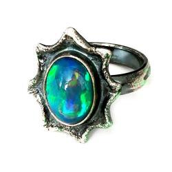 opal,srebrny,szary,tęczowy,zielony,niebieski,retro - Pierścionki - Biżuteria