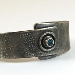 srebrna bransoleta z topazem - Bransoletki - Biżuteria