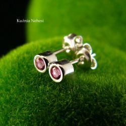 mini kolczyki,sztyfty,różowe,srebro,maleńkie - Kolczyki - Biżuteria