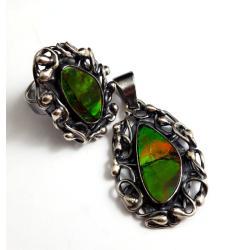 ammolit,amonit,srebrny,indiański,totem,wisona,styl - Komplety - Biżuteria