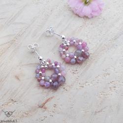 srebro,lekkie,okrągłe kolczyki,rubiny,JewelsbyKT - Kolczyki - Biżuteria