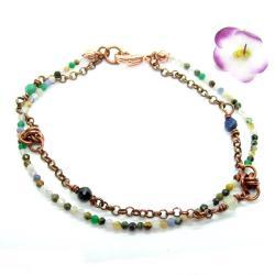delikatna,miedź,chainmaille,kamienie naturalne - Bransoletki - Biżuteria