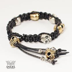 bransoleta z rzemienia i srebrnych czaszek - Dla mężczyzn - Biżuteria