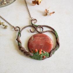 naszyjnikz z jaspisem,elegancki naszyjnik, - Naszyjniki - Biżuteria