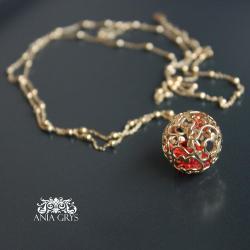 kulka,ażurowa,wisiorek,pozłacana - Wisiory - Biżuteria