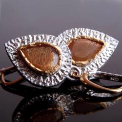 kamień księżycowy,kolczyki,srebro - Kolczyki - Biżuteria