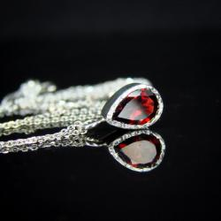 srebro,granat,naszyjnik,czerwony - Naszyjniki - Biżuteria