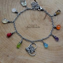 Magiczna bransoletka z sercem,wire wrapping - Bransoletki - Biżuteria