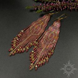 z frędzlami,różowe,jesień,długie,indiańskie,etno, - Kolczyki - Biżuteria