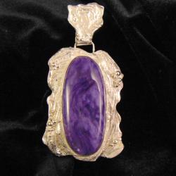 wisior srebrny z czaroitem - Wisiory - Biżuteria