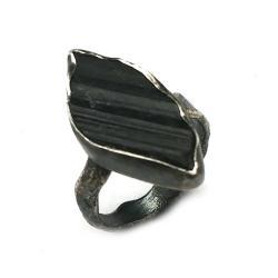 turmalin,czarny,srebrny,szarosci,srebro,gra o tron - Pierścionki - Biżuteria