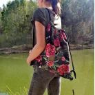 Podróżne plecak,worek,workoplecak,welurowy,piwonie,ważki