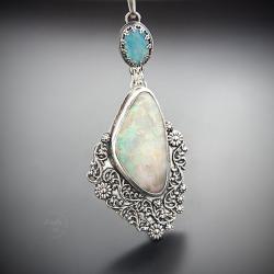 srebrny,naszyjnik,z opalem szlachetnym - Naszyjniki - Biżuteria