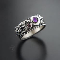 srebrny pierścionek,szeroka obrączka z ametystem - Pierścionki - Biżuteria