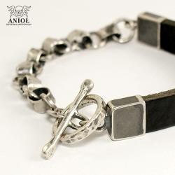 bransoleta męska skórzana,surowa bransoleta - Dla mężczyzn - Biżuteria