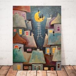 akryl,miasteczko,noc,koty,księżyc - Obrazy - Wyposażenie wnętrz