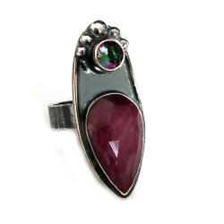 rubin,blask,bordowy,srebrny,surowy,retro,mystic - Pierścionki - Biżuteria