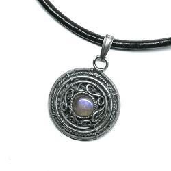 naszyjnik z fioletowym labradorytem - Naszyjniki - Biżuteria