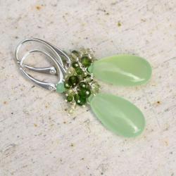kolczyki,krople,gronka,zielone,długie,eleganckie - Kolczyki - Biżuteria