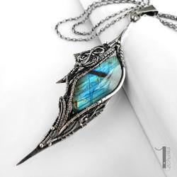 naszyjnik wire wrapping,srebro,labradoryt - Naszyjniki - Biżuteria