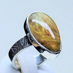 pierścionek z kwarcem,kwarc z rutylem,srebro,biżut - Pierścionki - Biżuteria