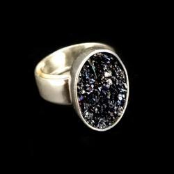 karborund,srebrny,blask,srebro,tęczowy,delikatny - Pierścionki - Biżuteria