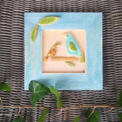 ptaki,ptak,ceramika,drewno,ramka,obrazek, - Inne - Wyposażenie wnętrz