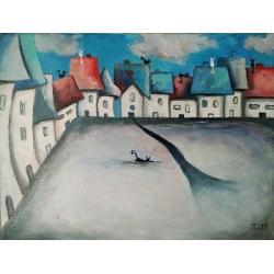 obraz,akryl,miasteczko,koty,domki - Obrazy - Wyposażenie wnętrz