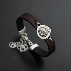 srebrna,bransoletka,z ammonitem,na rzemieniu - Bransoletki - Biżuteria
