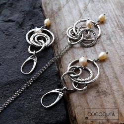 bogaty,z perłami,nowoczesny,modny,srebro - Komplety - Biżuteria