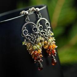 jesienne kolczyki,naturalne minerały,romantyczne - Kolczyki - Biżuteria