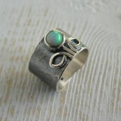 z opalem,rozmiar 14,srebro kute - Pierścionki - Biżuteria