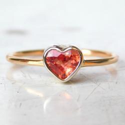 pierścionek z szafirem serce romantyczny - Pierścionki - Biżuteria