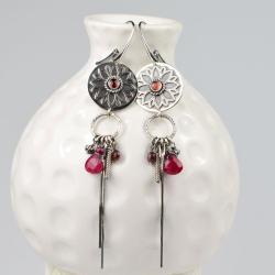 kolczyki,długie,mandala,rozeta,czerwone,bordowe, - Kolczyki - Biżuteria