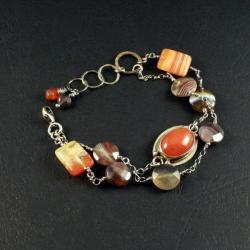 srebrna bransoleta z agatem - Bransoletki - Biżuteria