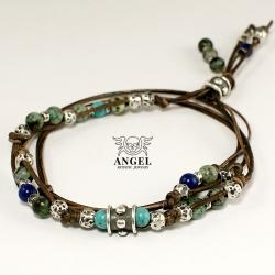 naszyjnik skórzany,etniczna biżuteria męska - Dla mężczyzn - Biżuteria