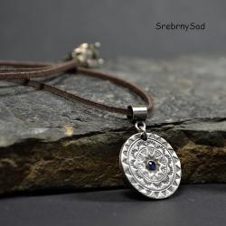 srebrny naszyjnik,mandala,niebieska cyrkonia - Naszyjniki - Biżuteria