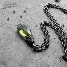 Naszyjniki delikatny,zielony,z kamieniem,codzienny,srebro