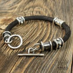 bransoleta męska,skórzana biżuteria dla mężczyzn - Dla mężczyzn - Biżuteria