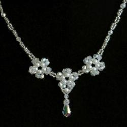 naszyjnik,kwiatym ślubny,porłowy - Bransoletki - Biżuteria
