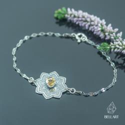 mandala,srebrna bransoletka,cytryn,orientalna - Bransoletki - Biżuteria
