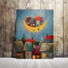 Obrazy bajka,księżyc,koty,domki