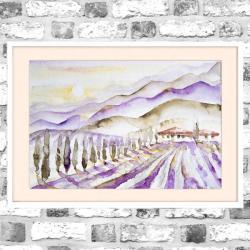 akwarela,Toskania,krajobraz,fiolety,wschód - Obrazy - Wyposażenie wnętrz