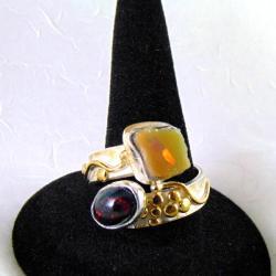 Pierścionek srebrny z opalami - Pierścionki - Biżuteria