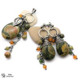 komplet,riolit,zielone,pomarańczowy,srebro - Komplety - Biżuteria