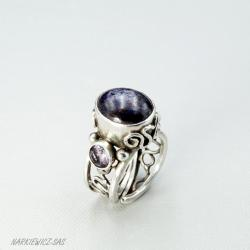 srebrny regulowany pierścionek z szafirem - Pierścionki - Biżuteria